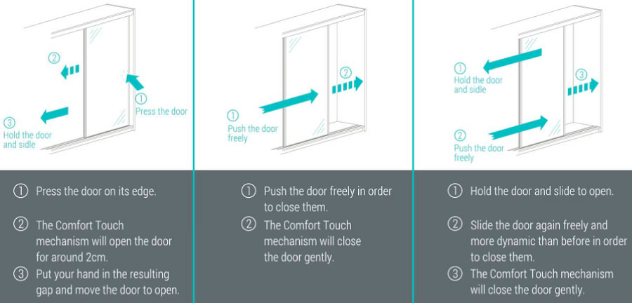 How the Comfort Touch works  sc 1 st  Why Fusion Robes? & Push to Open Sliding Doors | Fusion Robes Belfast
