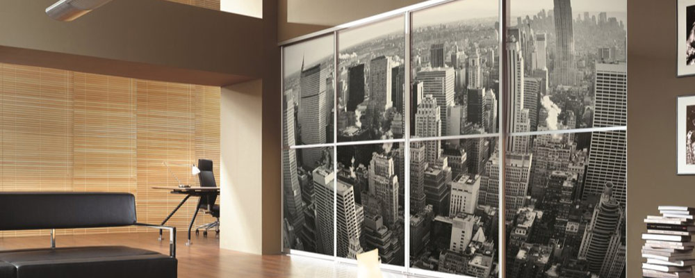 Custom graphics fusion robes ltd amazing sliding and for Sliding glass doors nyc