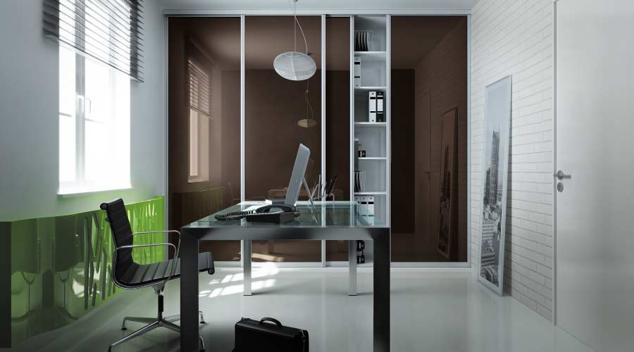 Glass sliding wardrobe perfect for office storage